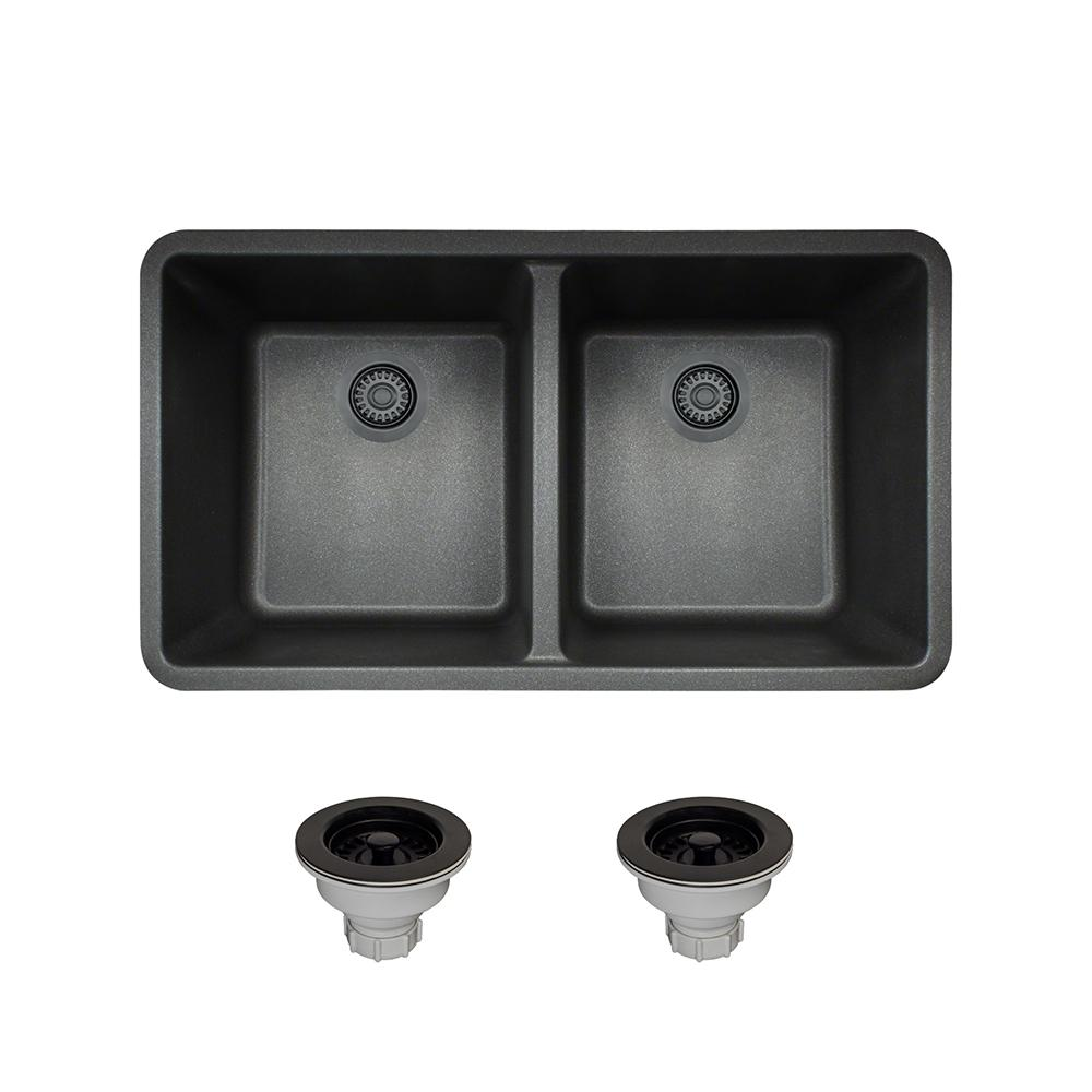 MR Direct All-in-One Undermount Composite 32-1/2 in. Double Bowl Kitchen Sink