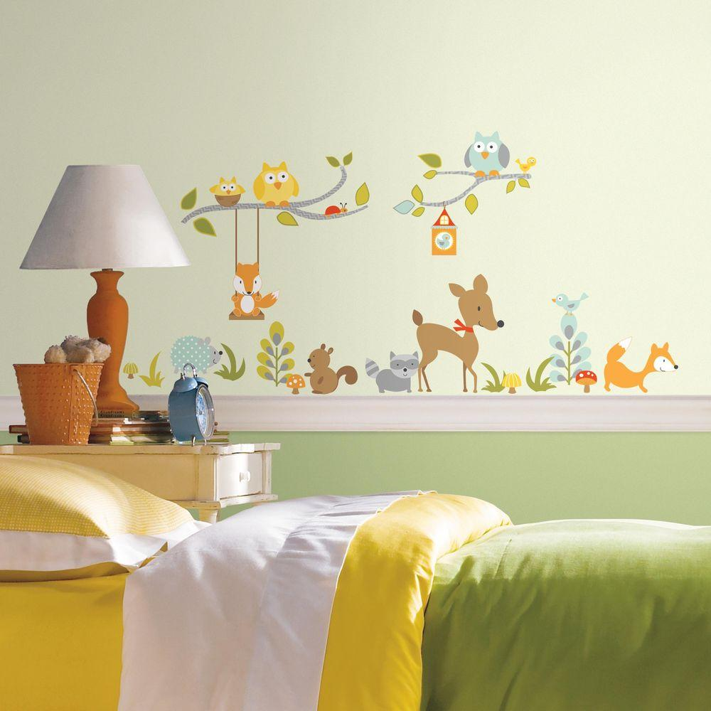 5 in. x 11.5 in. Woodland Fox and Friends 52-Piece Peel and Stick Wall Decal, Multi