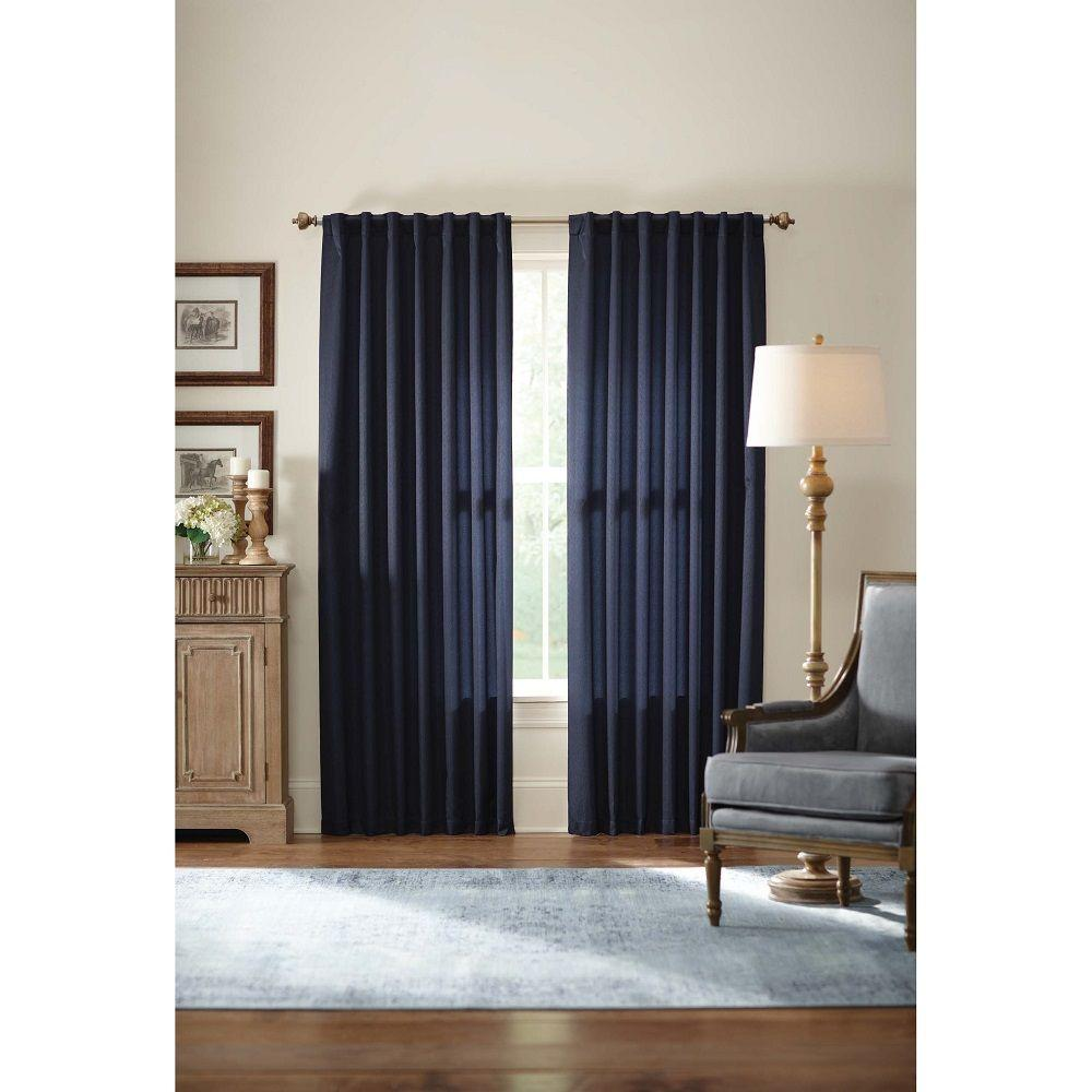 Home Decorators Collection Curtains & Drapes Monaco Navy Thermal Foam Backed Lined Back Tab Curtain (Price Varies by Size) Monaco-410-400