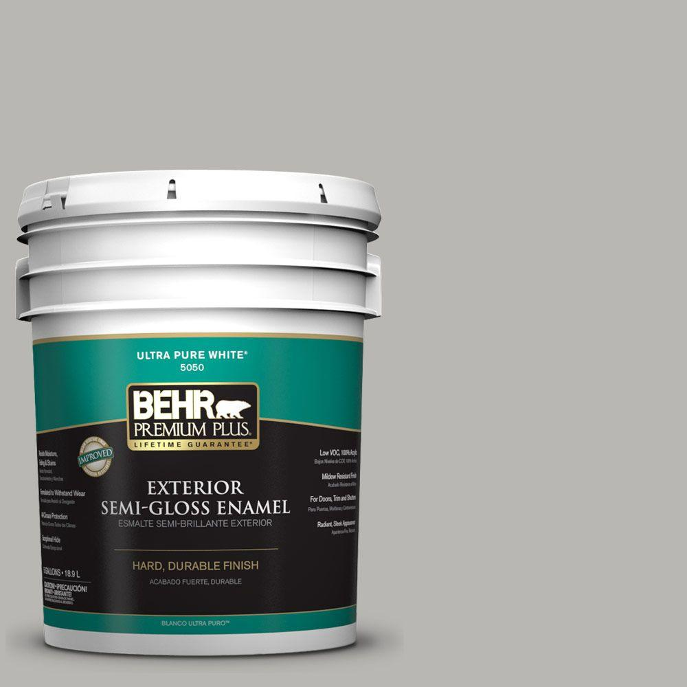 BEHR Premium Plus Home Decorators Collection 5-gal. #HDC-MD-26 Sonic Silver Semi-Gloss Enamel Exterior Paint