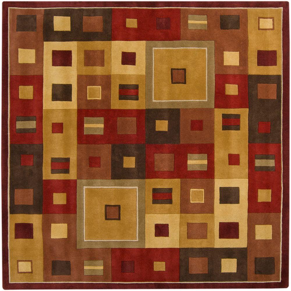 Michael Burgundy 8 ft. Square Area Rug