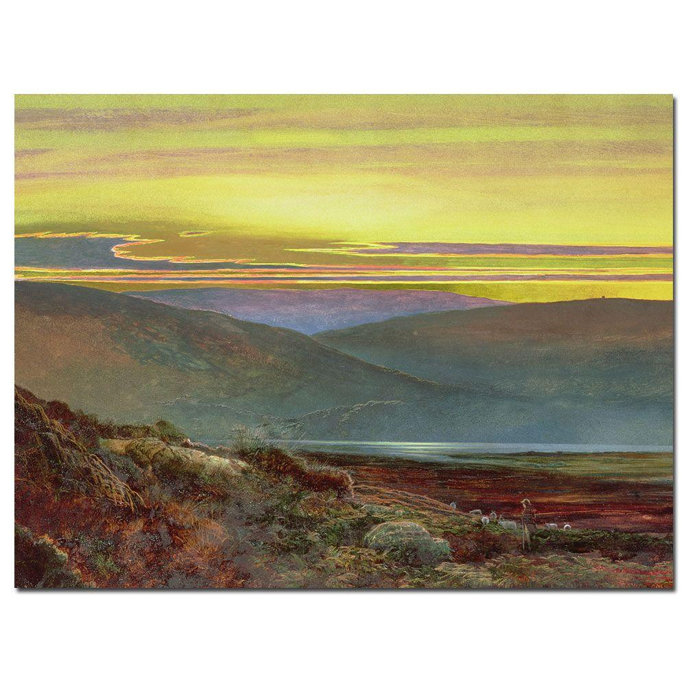 "35 in. x 47 in. ""A Lake Landscape at Sunset"" Canvas"