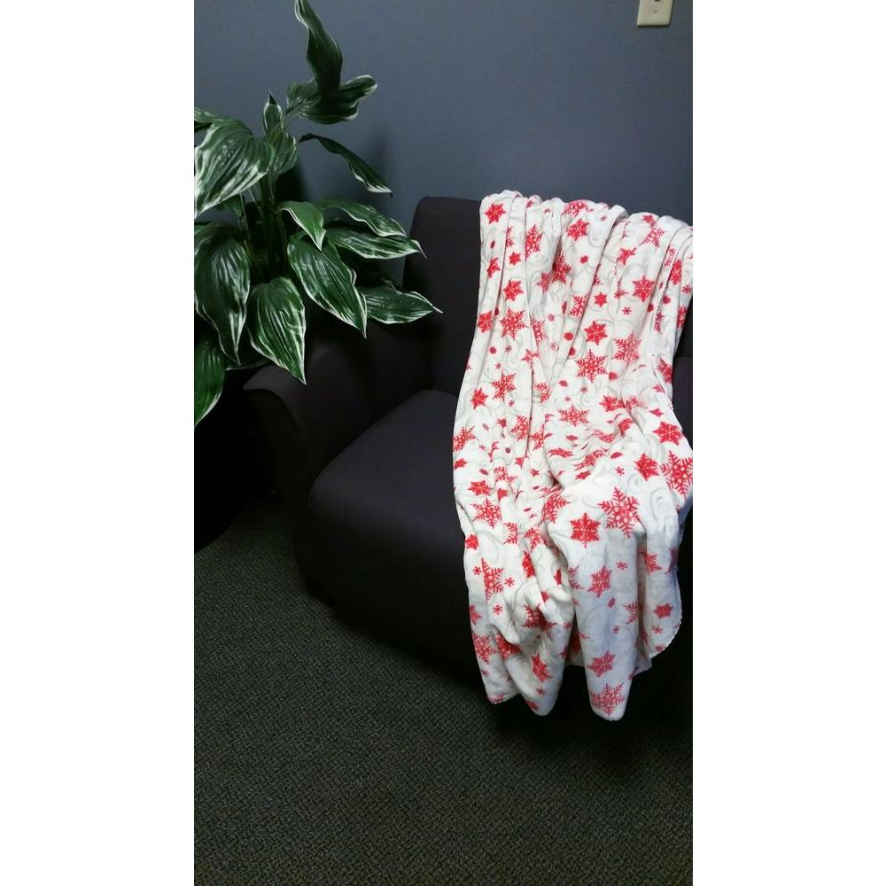 Cloud Touch White and Red Polyester Patterned Throw-Silver Frost Swirl -