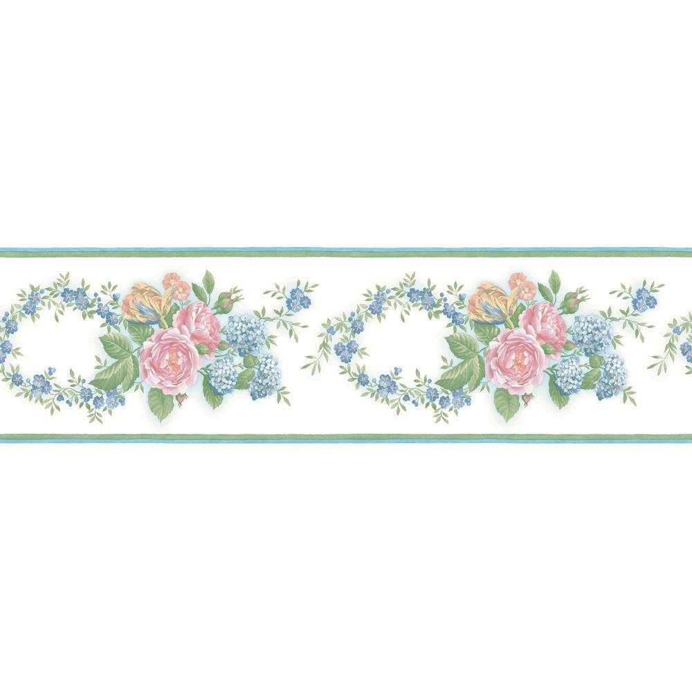The Wallpaper Company 6 in. x 15 ft. Pastel Floral Trail Border-DISCONTINUED