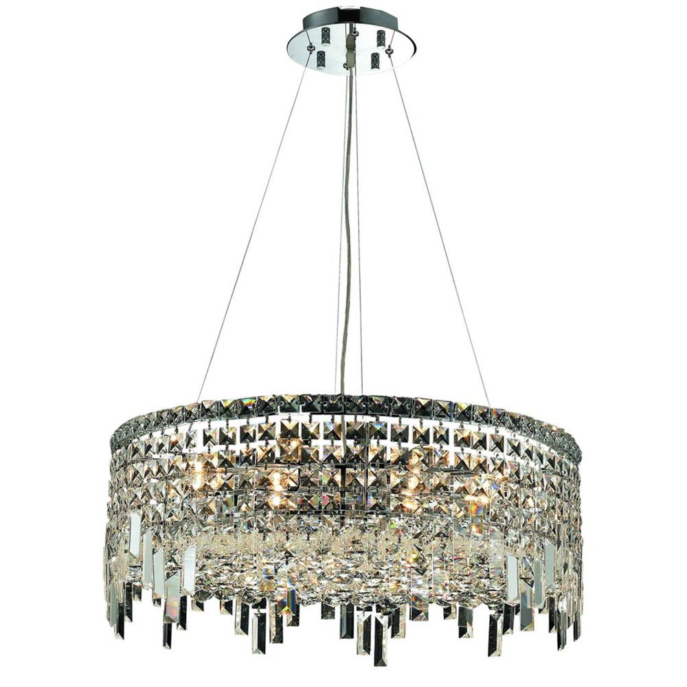 Elegant Lighting 12-Light Chrome Chandelier with Clear Crystal