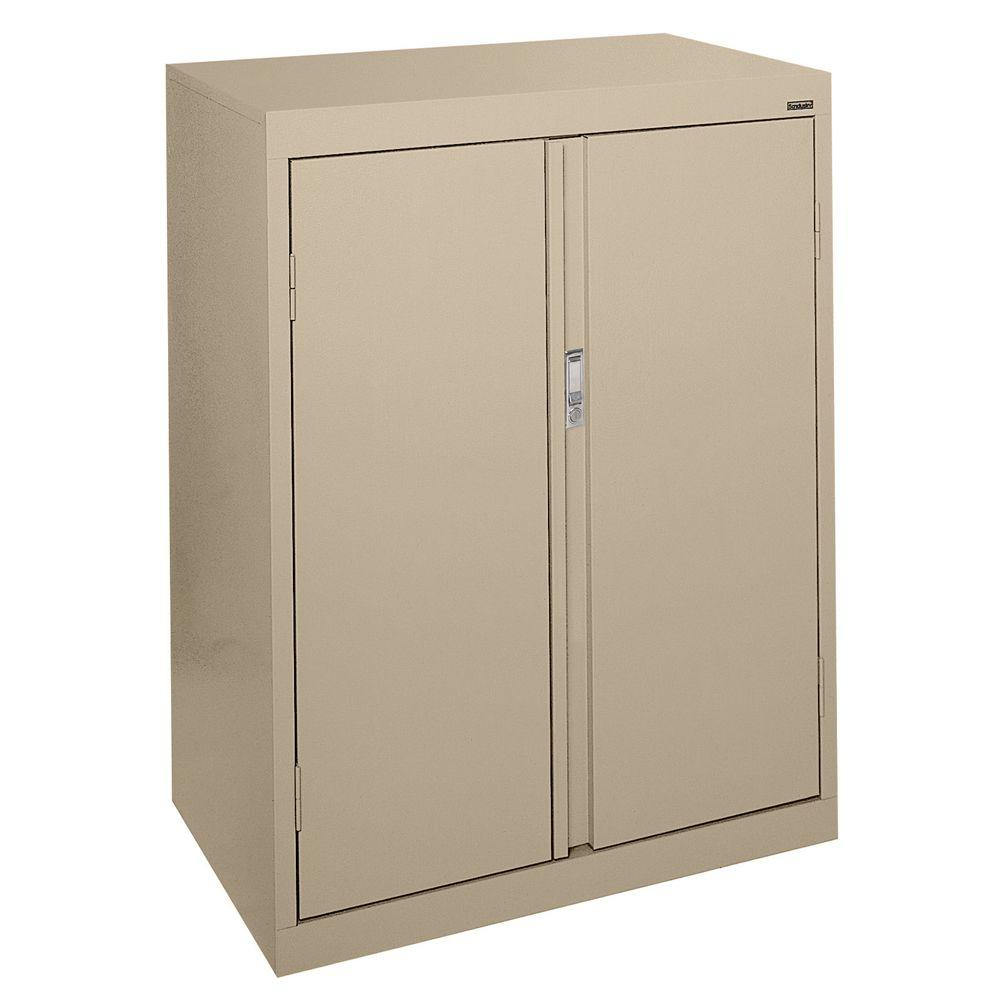 Sandusky System Series 30 in. W x 42 in. H x 18 in. D Counter Height Storage Cabinet with Fixed Shelves in Tropic Sand