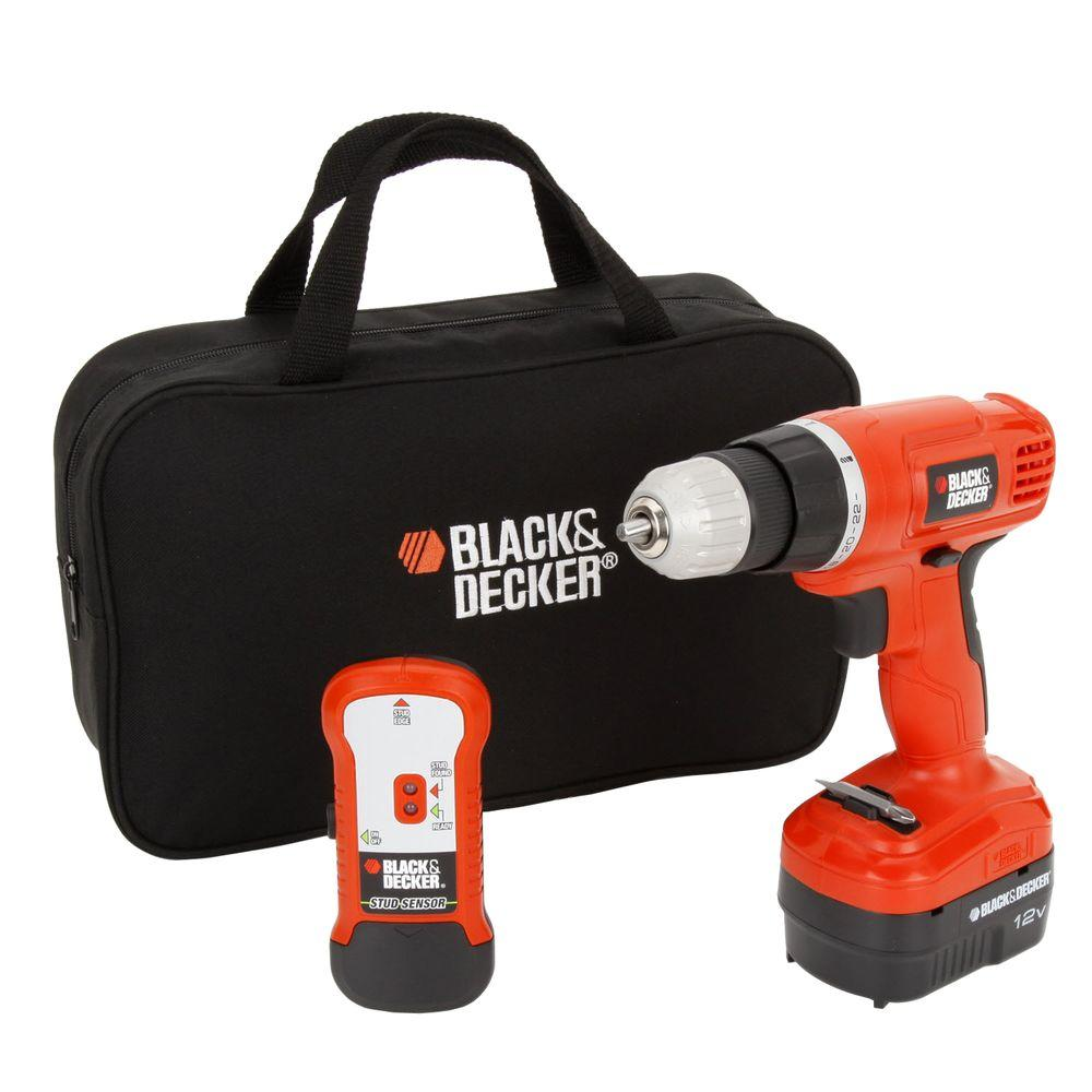 Drill/Drivers: BLACK+DECKER Drills 12-Volt Ni-Cad Cordless Drill with Stud Sensor and Storage Bag GCO12SFB