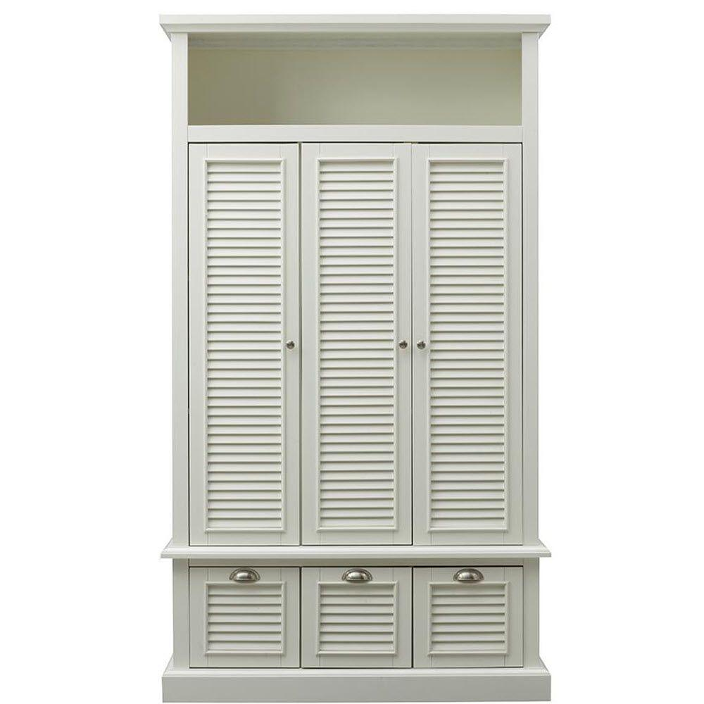 Home Decorators Collection Shutter 42 in. W x 74 in. H x 17 in. D Triple Door Closed Locker Storage in Polar White