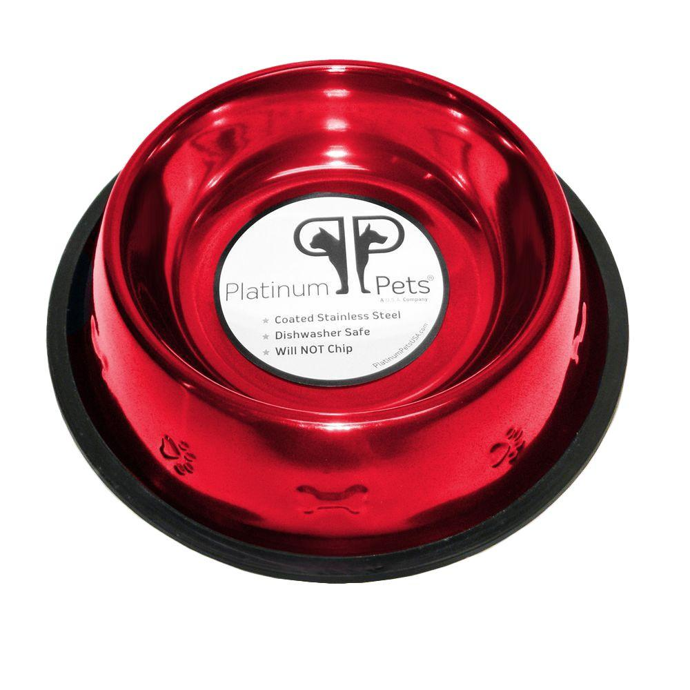 Platinum Pets 3 Cup Stainless Steel Embossed Non-Tip Dog Bowl in Red