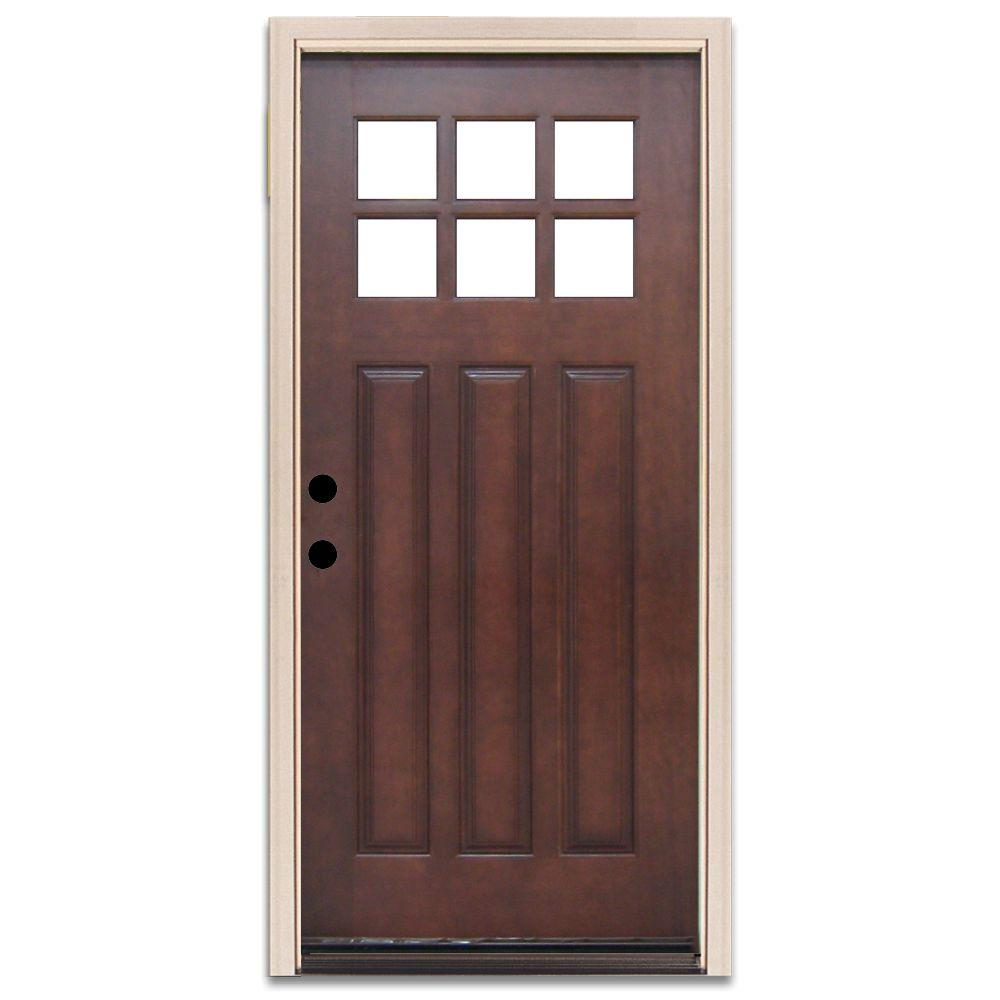 Steves & Sons Craftsman 6 Lite Prefinished Mahogany Wood Prehung Front Door-DISCONTINUED