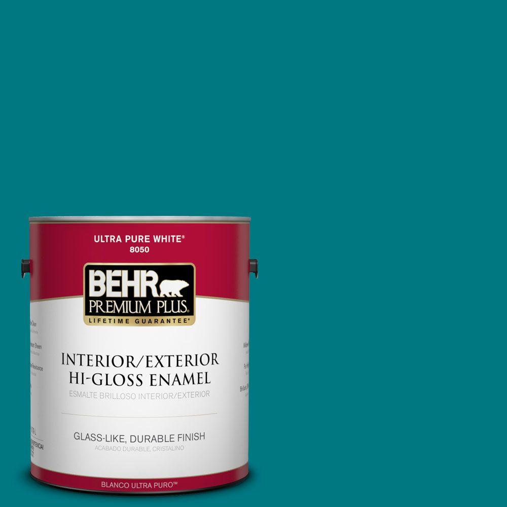 1-gal. #P470-7 The Real Teal Hi-Gloss Enamel Interior/Exterior Paint