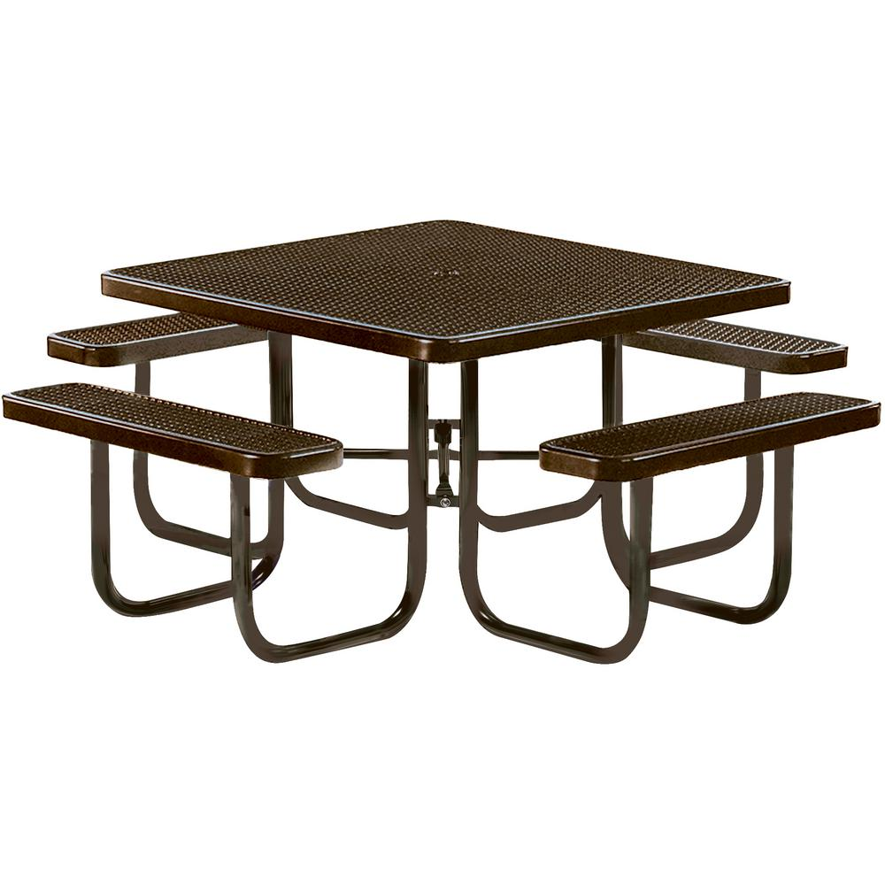 Park 46 in. Brown Commercial Square Picnic Table
