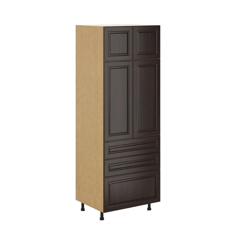 Ready to Assemble 30x83.5x24.5 in. Naples 3-Drawer Pantry Cabinet in Maple Melamine and Door in Dark Brown, Melamine Maple