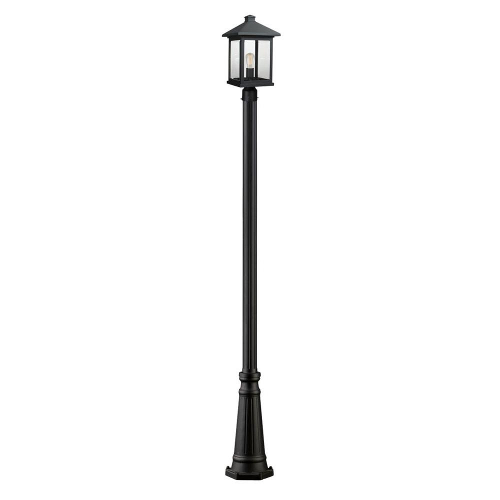 Malone 1-Light Black Outdoor Lamp Post