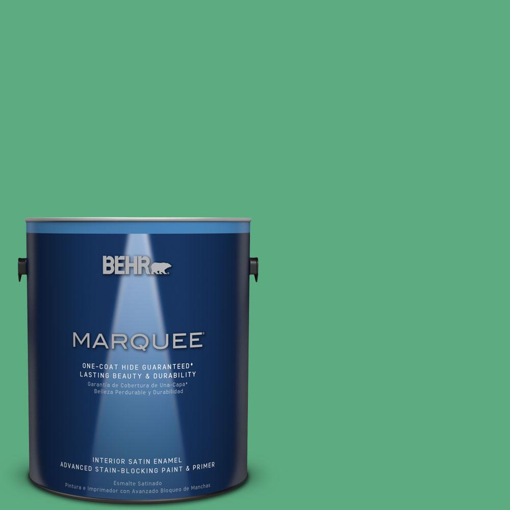 1 gal. #T14-4 Edgewater Satin Enamel Interior Paint