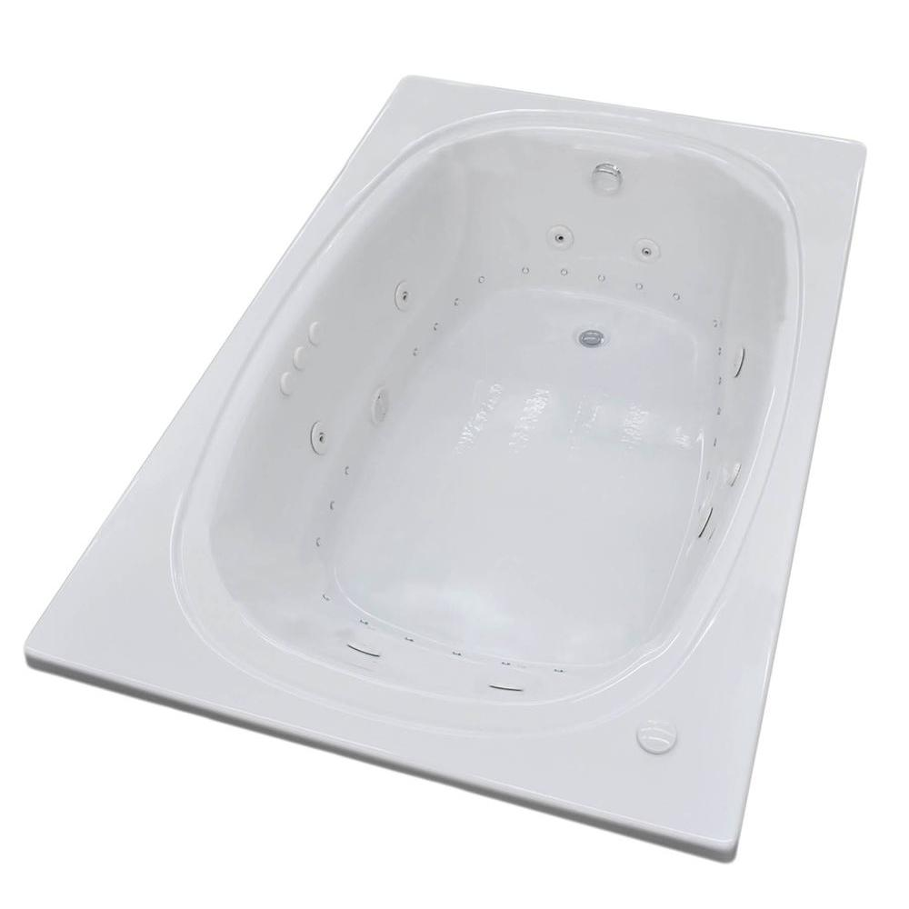 Peridot 6 ft. Whirlpool and Air Bath Tub in White