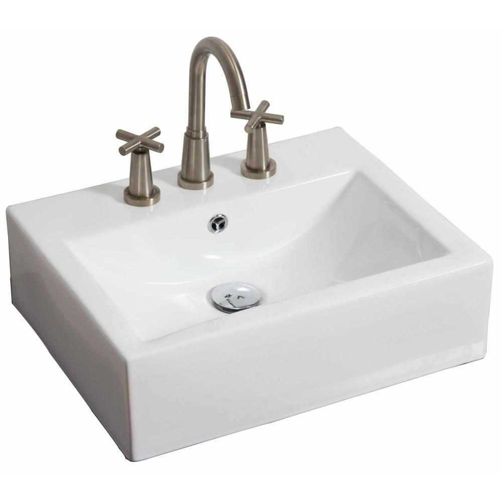 American Imaginations 20-in. W x 18-in. D Wall Mount Rectangle Vessel Sink In White Color For 8-in. o.c. Faucet