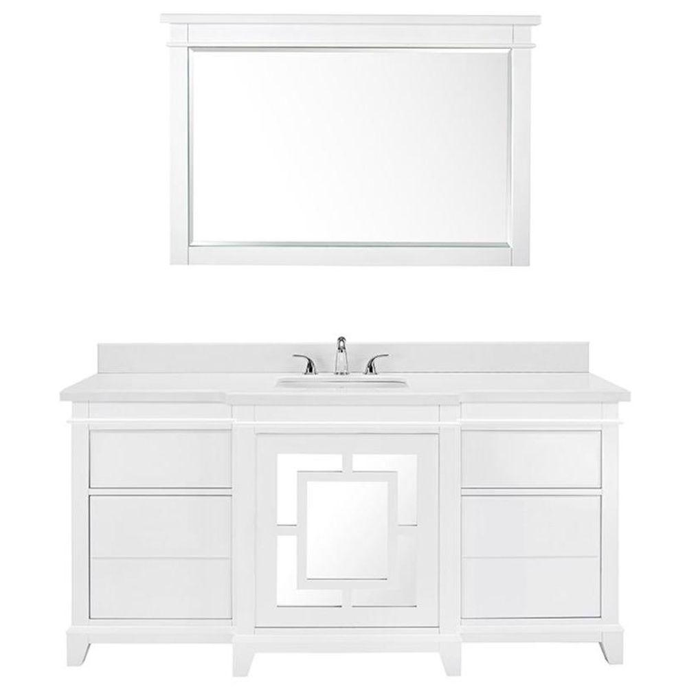 Luxe Wallingfold 66 in. Vanity in White with Quartz Vanity Top in White and Mirror