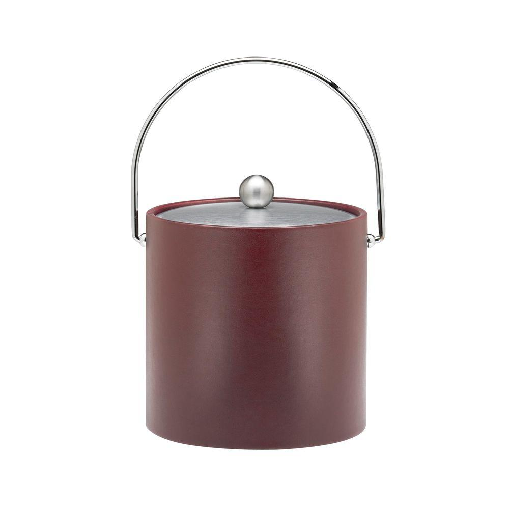 Kraftware SoHo Claret Leatherette 3 Qt. Ice Bucket with Chrome Bale and Lid
