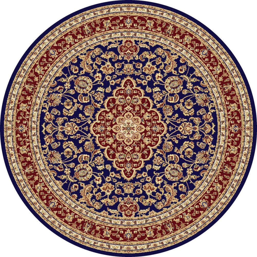 Tayse Rugs Sensation Navy Blue 7 ft. 10 in. Round Traditional Area Rug