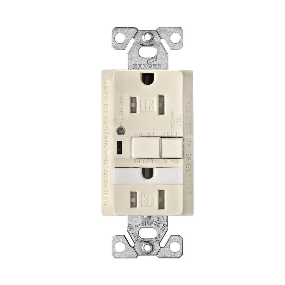 Eaton 20 Amp Combination GFCI Receptacle with Nightlight - Light Almond