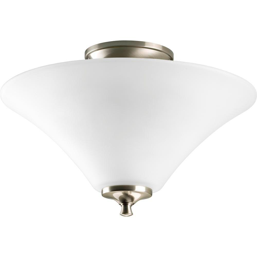 Janos Collection 2-Light Brushed Nickel Semi-Flush Mount Light