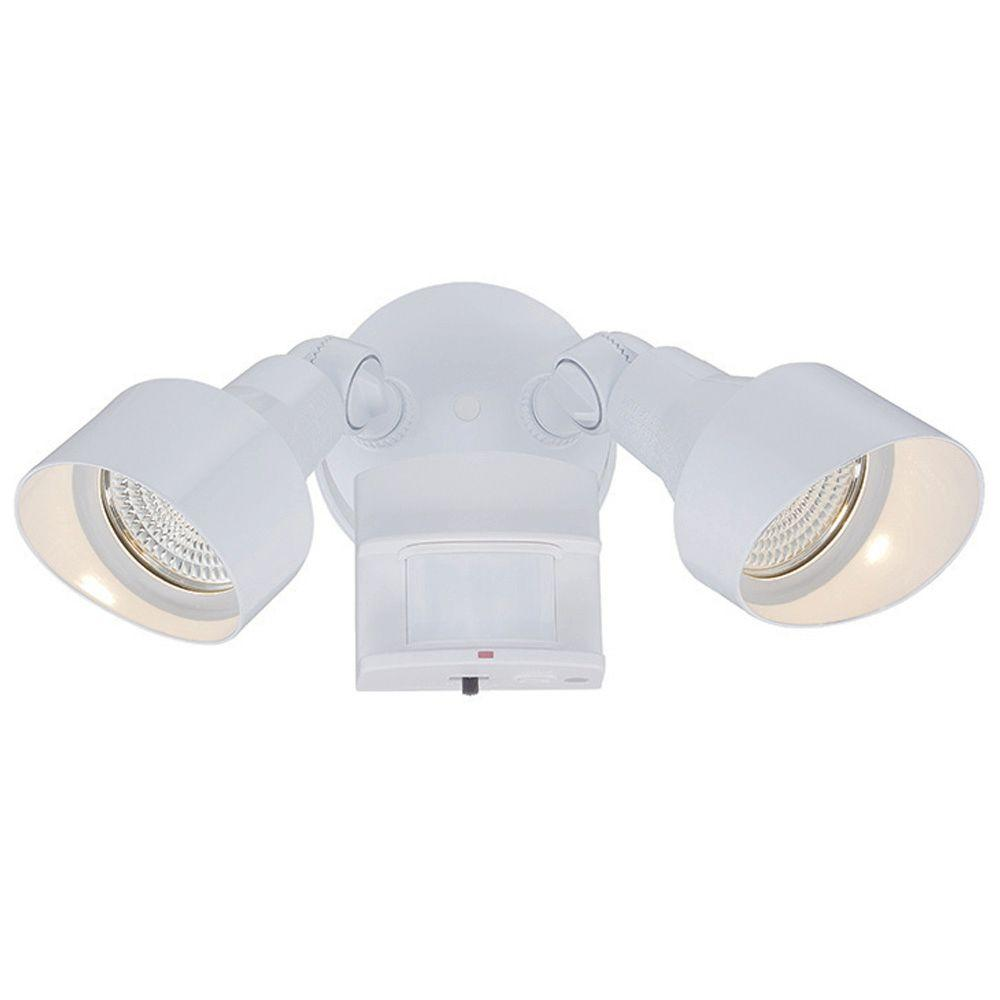 Floodlights Collection 2-Light White Motion Activated Outdoor LED Light Fixture