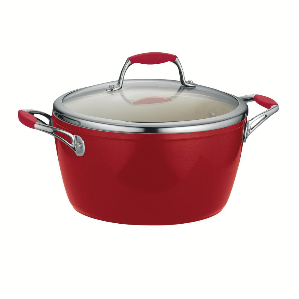 Gourmet Ceramica Deluxe 5 Qt. Covered Dutch Oven in Metallic Red