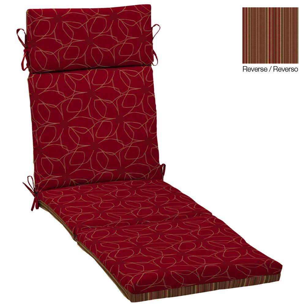 Hampton Bay Reversible Chili Stitch Outdoor Chaise Cushion-DISCONTINUED