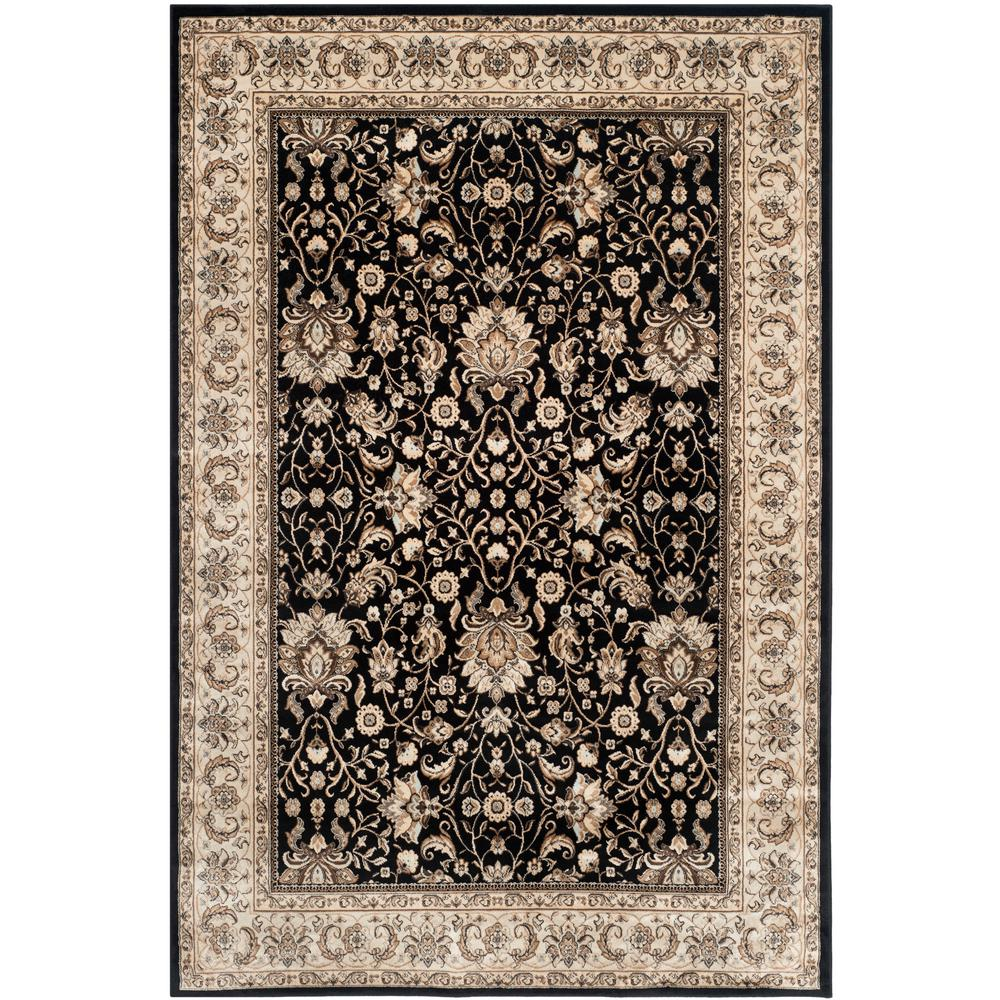 Persian Garden Black/Ivory 6 ft. 7 in. x 9 ft. 2 in. Area Rug