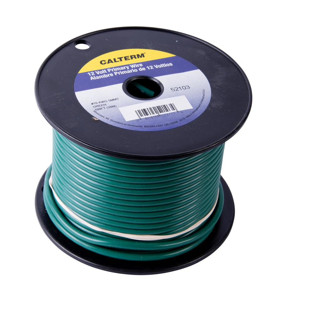 100 ft. 10 AWG Primary Wire Spool, Green (Case of 5)
