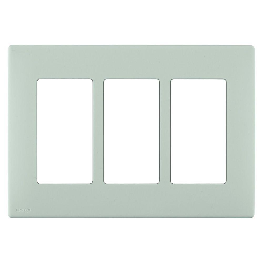 Leviton Renu 3 Gang Screwless Snap-on Wall Plate - Sea Spray-DISCONTINUED