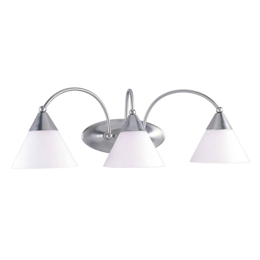 Talista 3-Light Brushed Nickel Bath Vanity Light with Satin Opal
