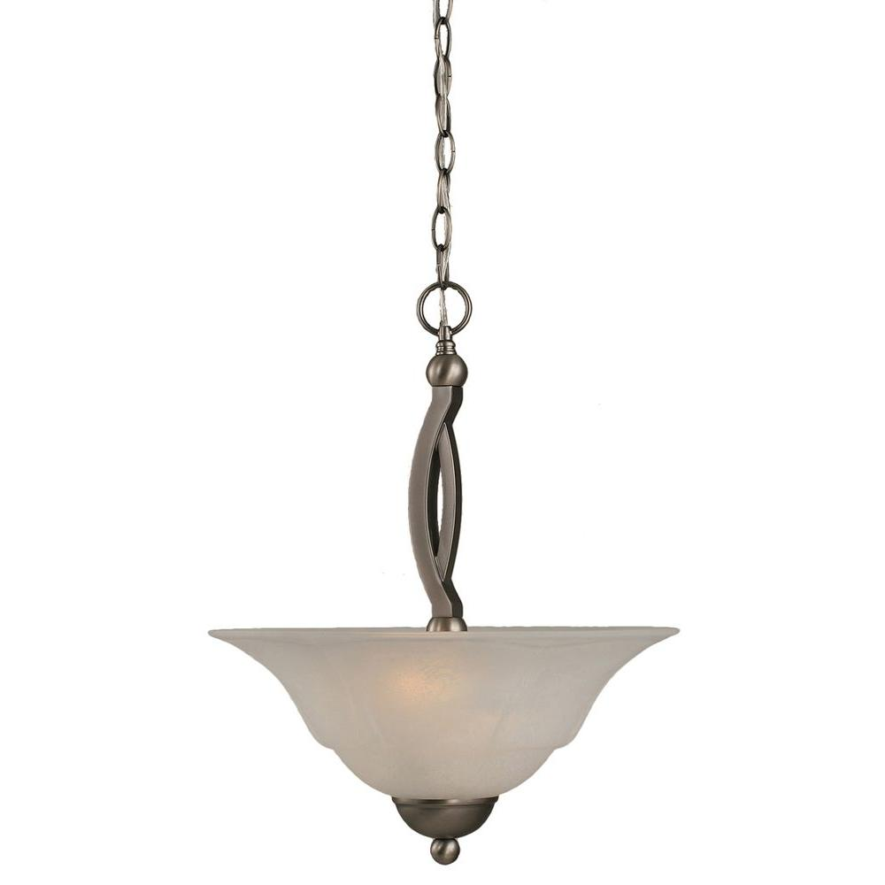 Filament Design Concord 2-Light Brushed Nickel Pendant with White Marble Glass