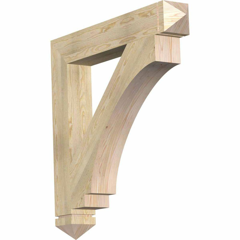 Ekena Millwork 6 in. x 42 in. x 42 in. Douglas Fir Imperial Arts and Crafts Rough Sawn Bracket