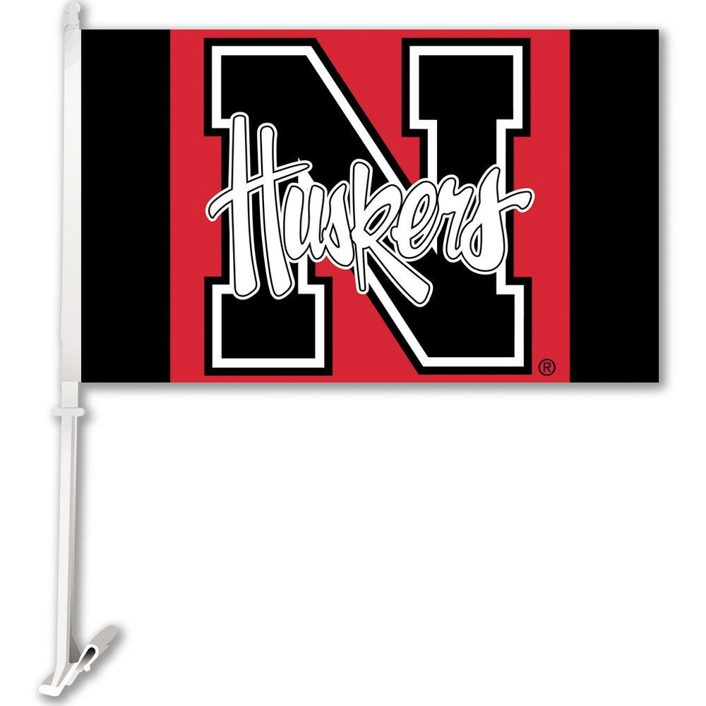BSI Products NCAA 11 in. x 18 in. Nebraska 2-Sided Car Flag with 1-1/2 ft. Plastic Flagpole (Set of 2)-DISCONTINUED