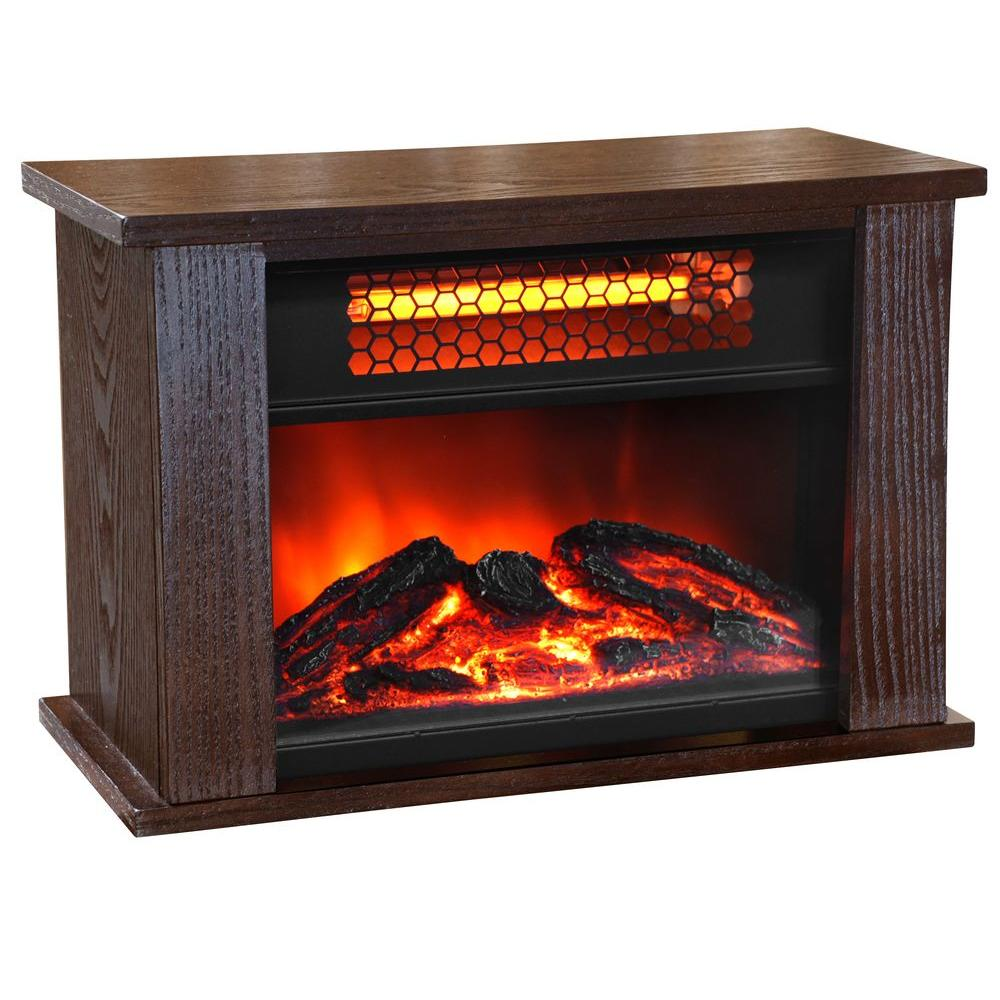 Life Pro 750 Watt 2 Element Mini Infrared Fireplace Heater With Realistic Flame Effect