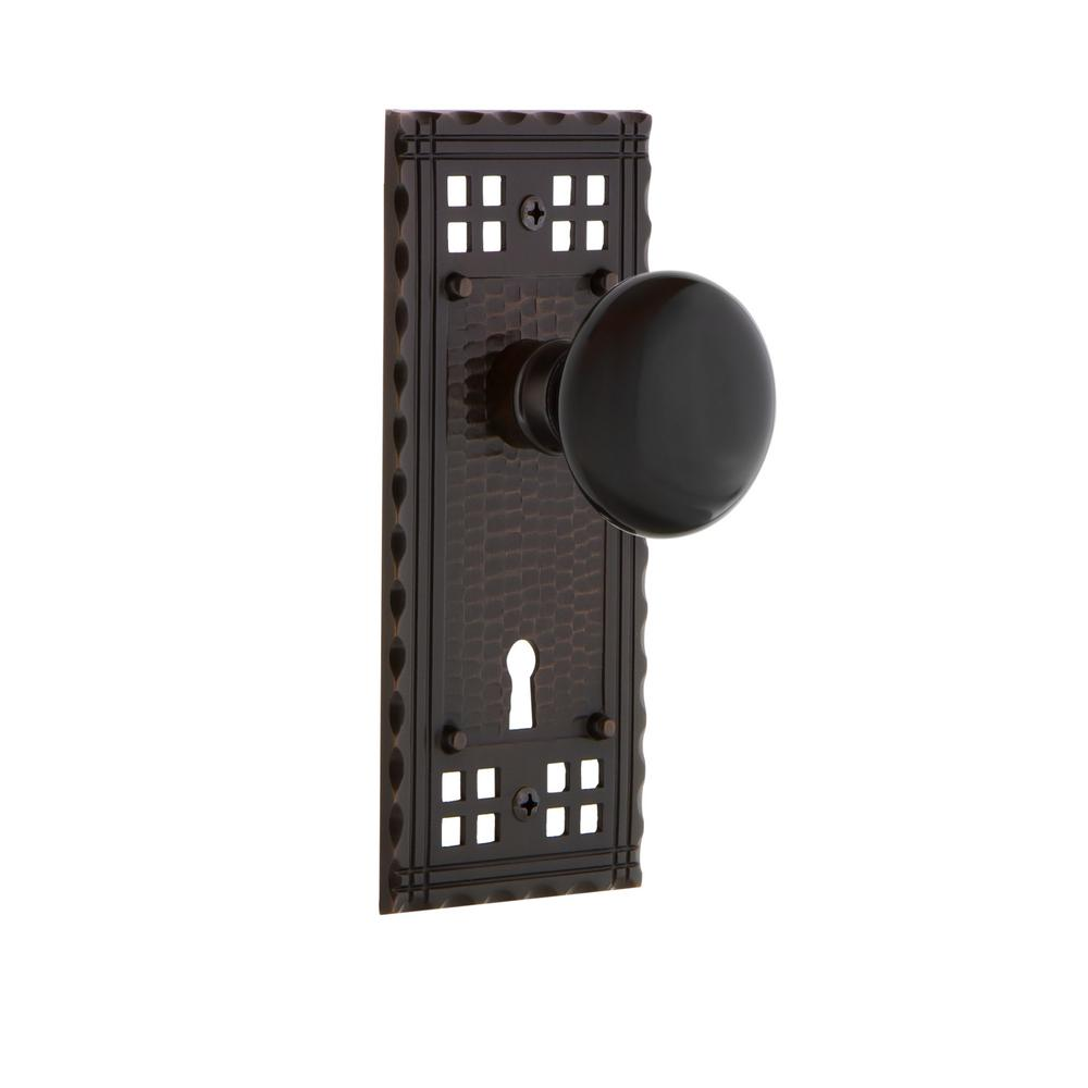 Craftsman Plate with Keyhole 2-3/8 in. Backset Timeless Bronze Privacy Black