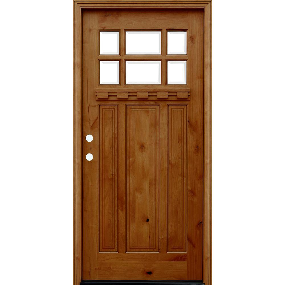 36 in. x 80 in. Craftsman Rustic 6 Lite Stained Knotty