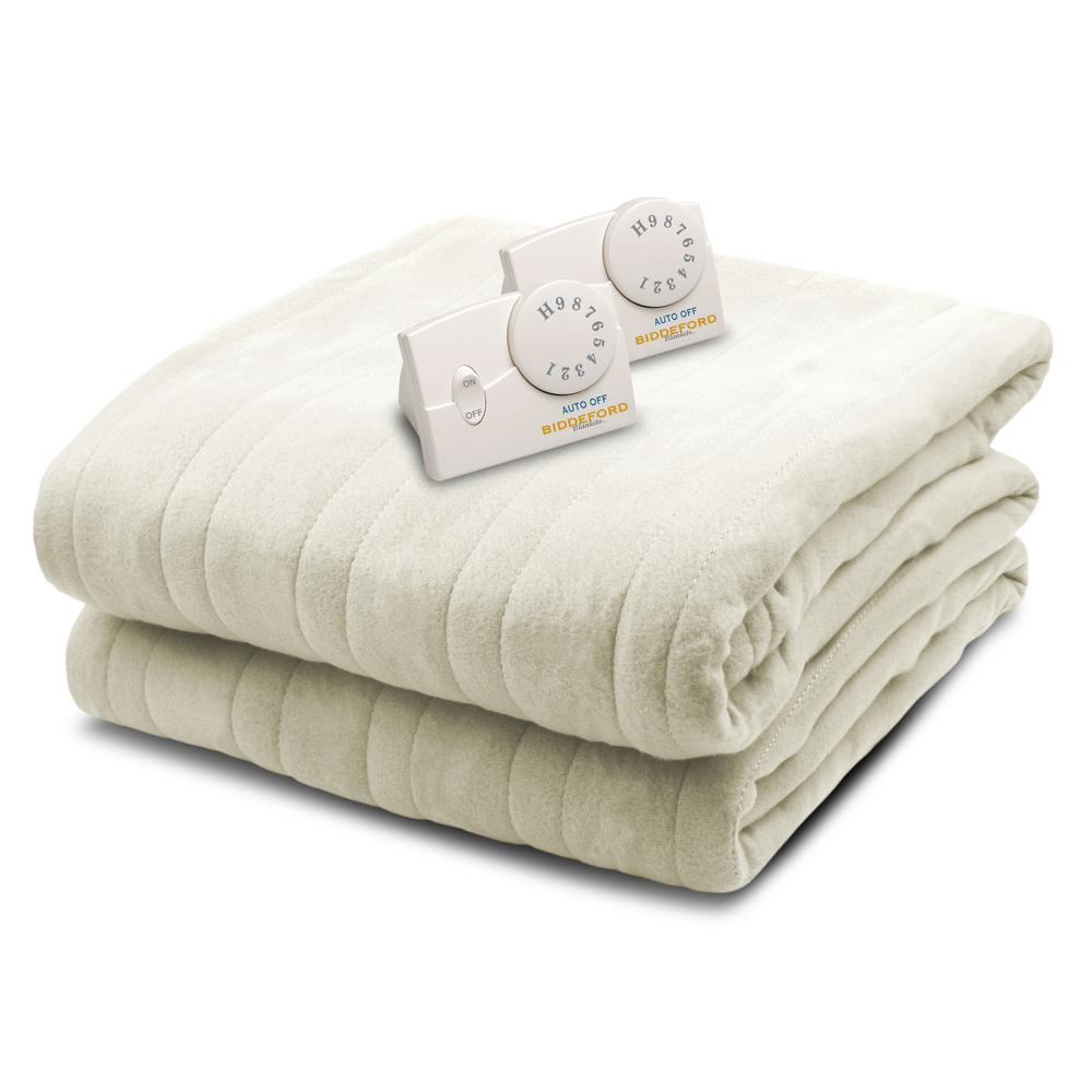 1003 Series Comfort Knit Heated 84 in. x 90 in. Natural Q...