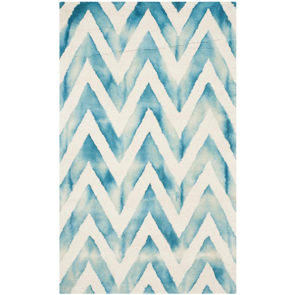 Dip Dye Ivory/Turquoise 3 ft. x 5 ft. Area Rug