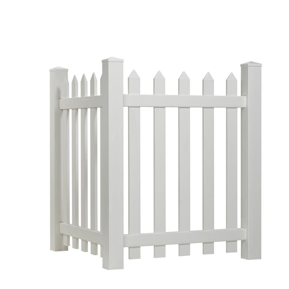 4 ft. H x 3.5 ft. W White Vinyl Spaced Picket