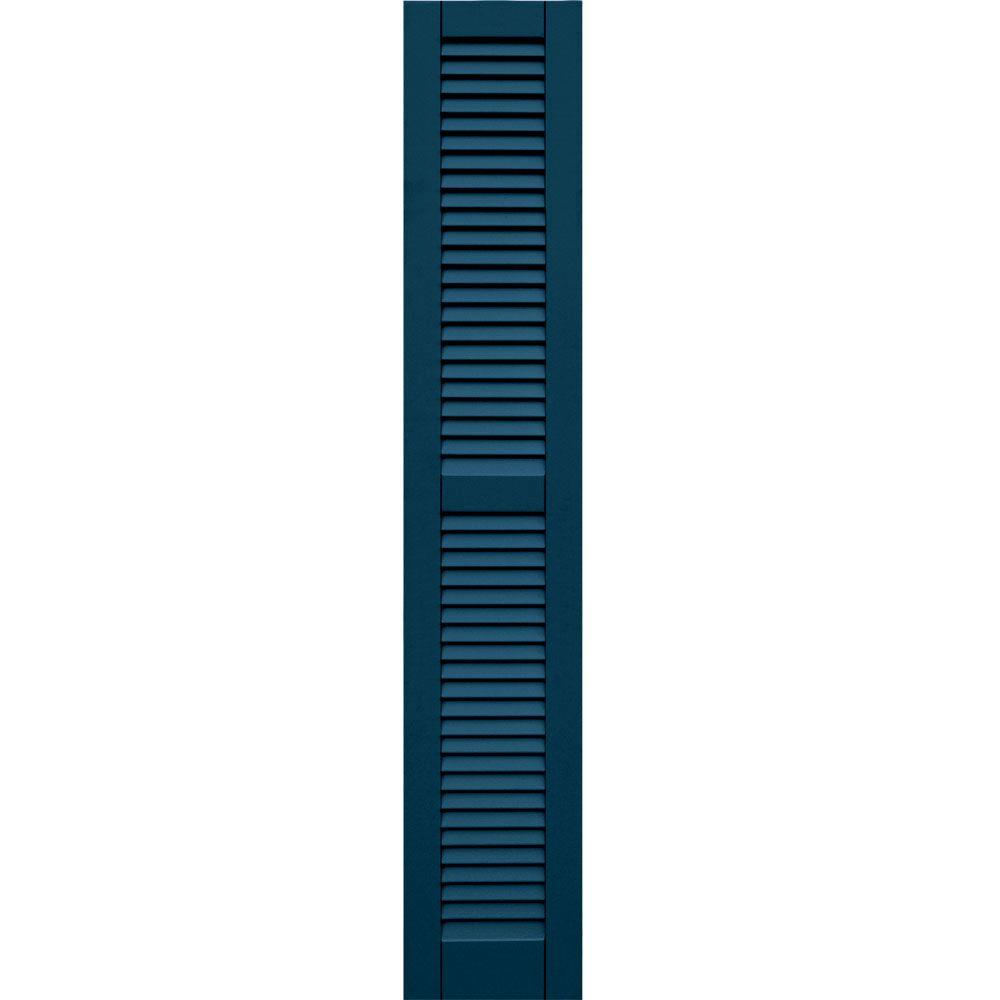 Winworks Wood Composite 12 in. x 67 in. Louvered Shutters Pair #637 Deep Sea Blue