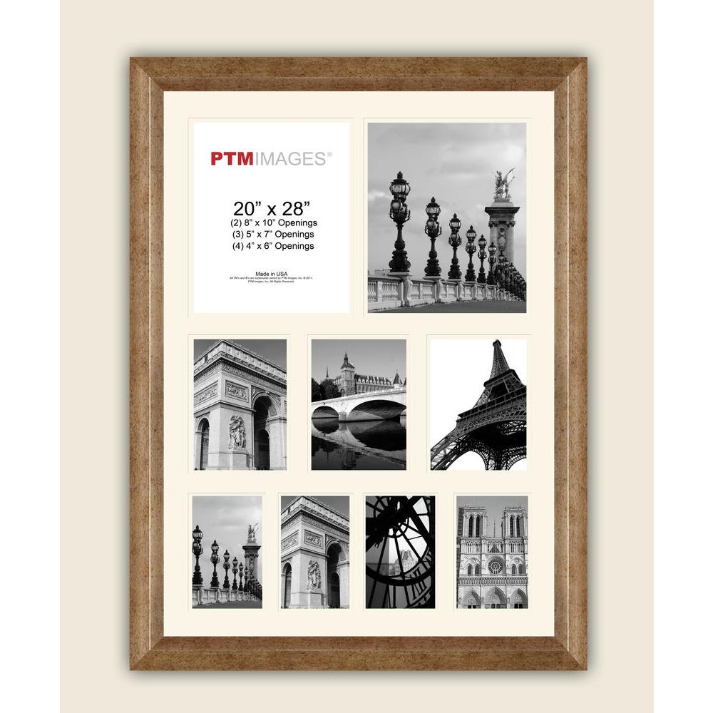 PTM Images 9-Opening 23-1/2 in. x 27-1/2 in. Multi-sized White Matted Photo Collage Frame