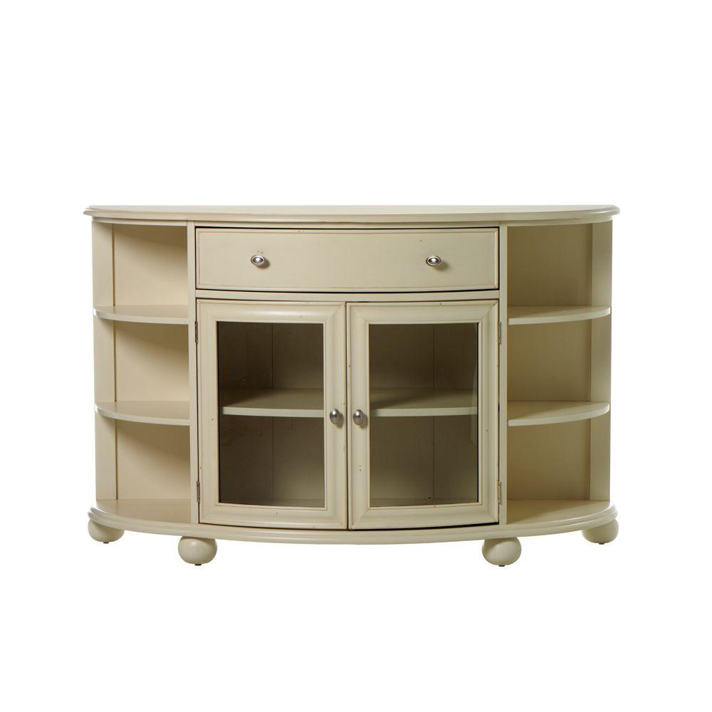 Home Decorators Collection Sheffield Demilune Antique White Buffet with Door