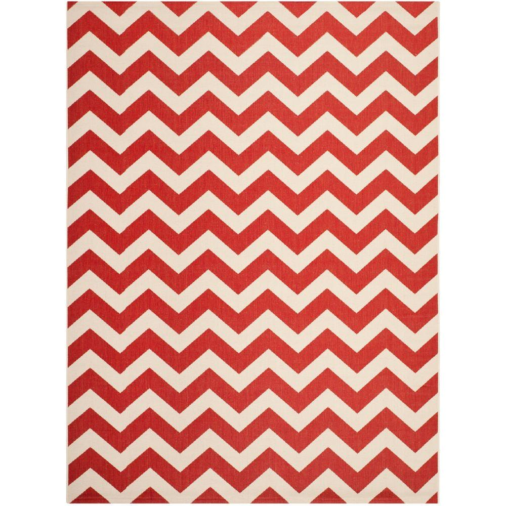 Courtyard Red 8 ft. x 11 ft. Indoor/Outdoor Area Rug