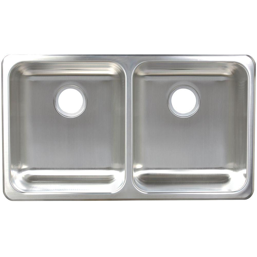 Dual Mount Stainless Steel 33.25x19.12x9 Double Bowl Kitchen Sink, Silk Deck And Bowl