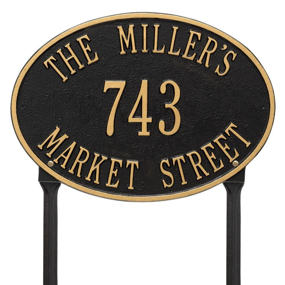 Hawthorne Standard Oval Black/Gold Lawn 3-Line Address Plaque