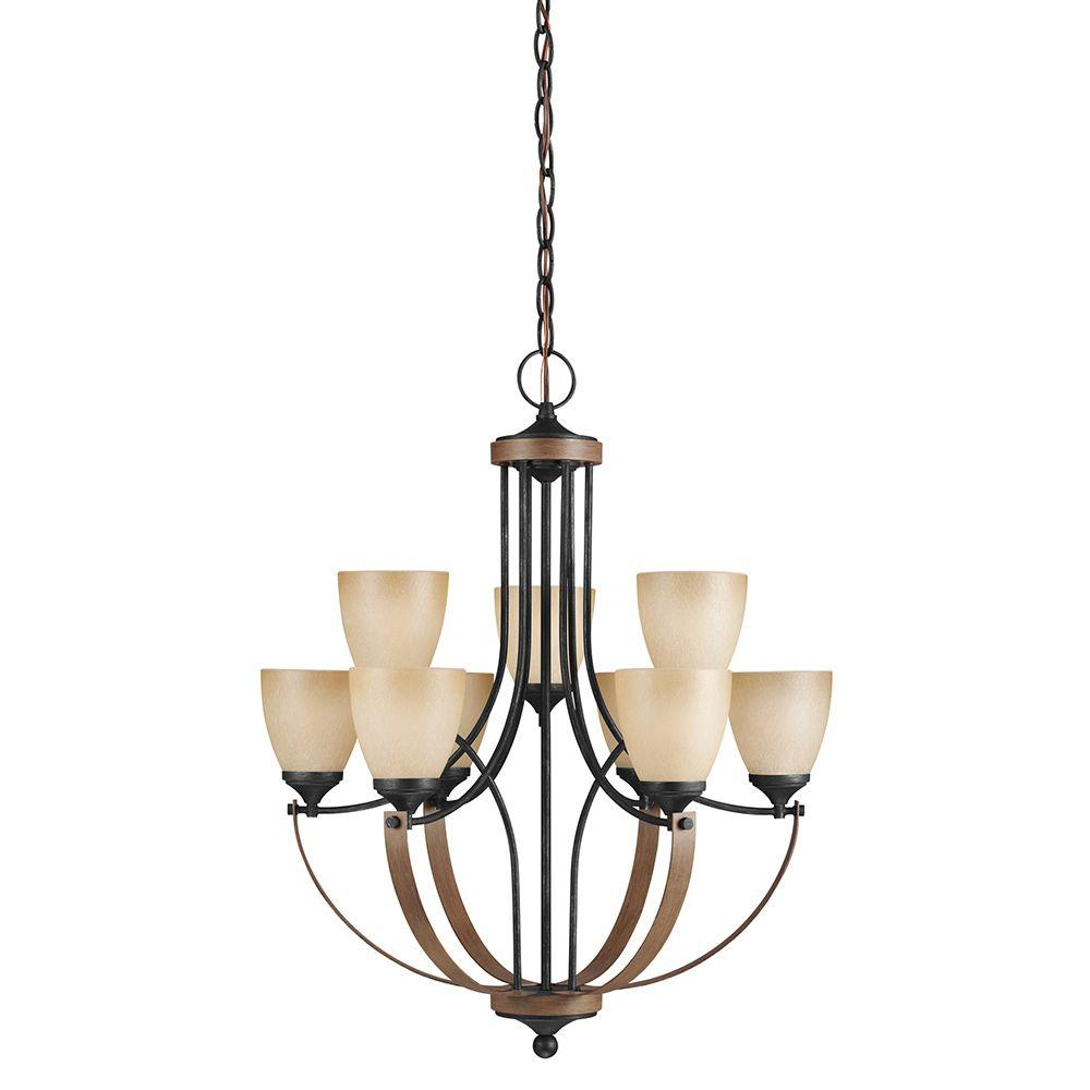 Sea Gull Lighting Corbeille 9-Light Stardust Chandelier with Creme Parchment Glass