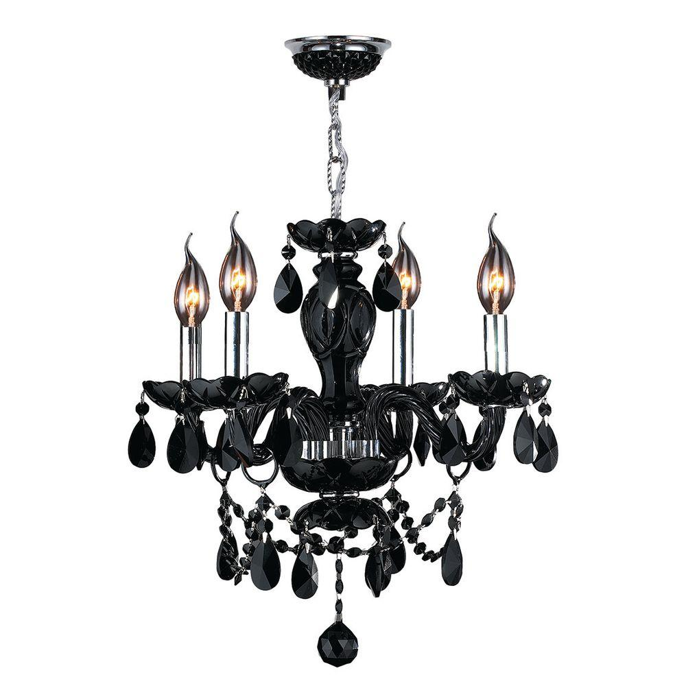 Worldwide Lighting Provence 4-Light Chrome Black Crystal Chandelier-W83103C17-BL